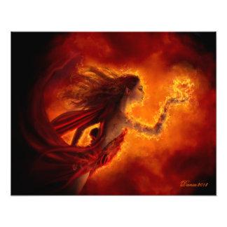 """""""Coração impressão da foto no fogo"""" Impressão De Foto"""