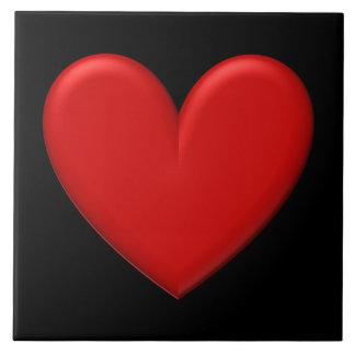 Coração inchado customizável azulejo quadrado grande