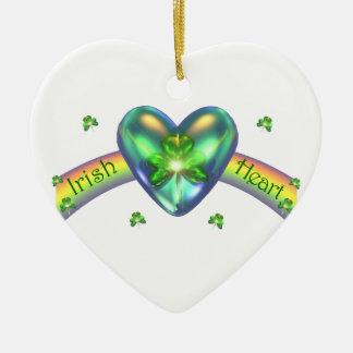 Coração irlandês do trevo do dia do St. Patricks Ornamento De Cerâmica Coração