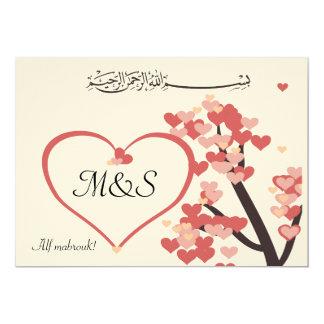 Coração islâmico da árvore de amor das convite 12.7 x 17.78cm