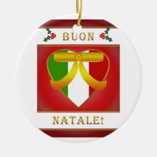 Coração italiano da bandeira de Buon Natale - Ornamento De Cerâmica Redondo