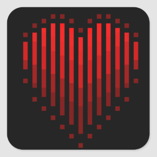 Coração listrado adesivo quadrado