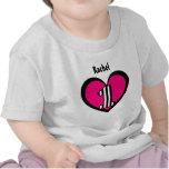 Coração listrado de 1 ano V9 do número do primeiro Camiseta