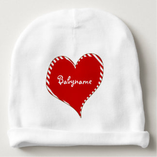 Coração listrado vermelho & branco personalizado gorro para bebê
