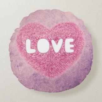 Coração macio cor-de-rosa do amor almofada redonda