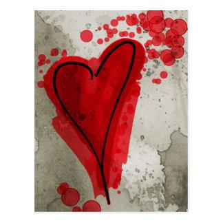Coração manchado de tinta vermelho cartões postais
