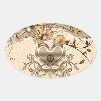 Coração maravilhoso com flores adesivo oval