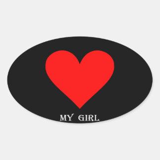 Coração minha menina adesivo oval