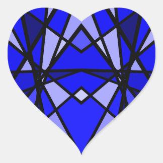 Coração moderno azul do vitral da arte de Cassie Adesivo Coração