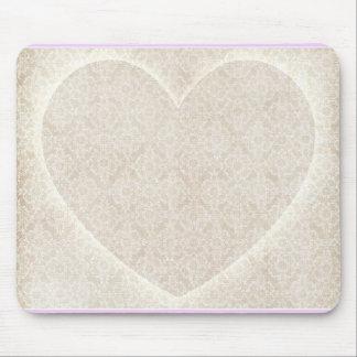 Coração Mousepad do laço do marfim