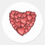 Coração muito adesivos em formato redondos