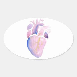 Coração muito violeta adesivo oval