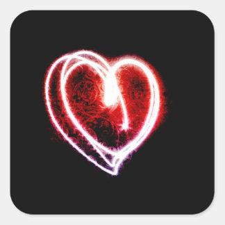 Coração na moda do dia dos namorados da luz adesivo quadrado