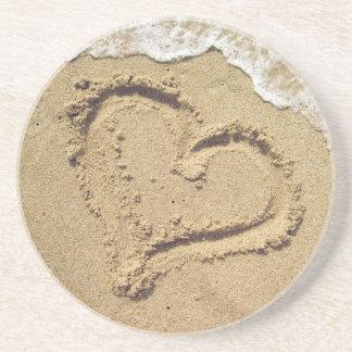Coração nas portas copos da areia porta copos de arenito
