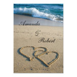 Coração no convite do casamento de praia da costa