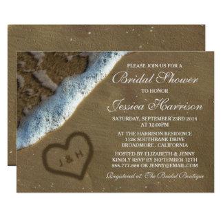 Coração nos chás de panela da praia da areia convite 12.7 x 17.78cm
