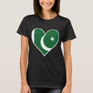 Coração paquistanês da bandeira camiseta