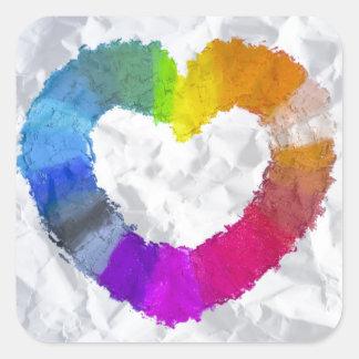 Coração Pastel Adesivo Quadrado