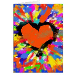 coração, paz e amor coloridos cartão comemorativo
