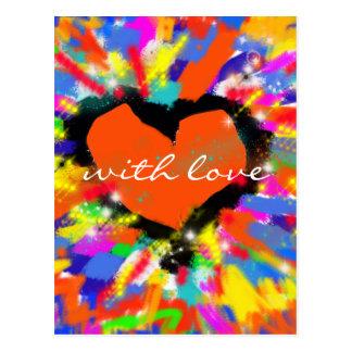 coração, paz e amor coloridos cartão postal