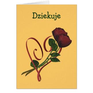 Coração polonês das rosas vermelhas dos cartões de