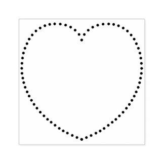 Coração pontilhado carimbo de borracha