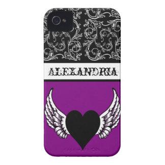 Coração preto, asas brancas feitas sob encomenda capinhas iPhone 4