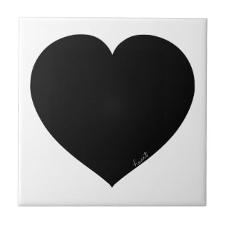 Coração preto azulejo de cerâmica