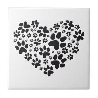 coração preto com patas, teste padrão animal do fo azulejos