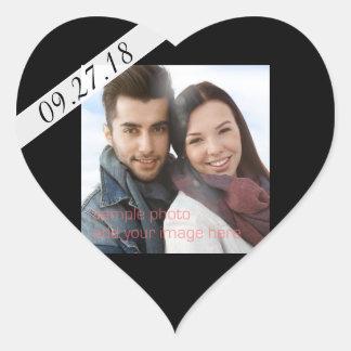 Coração preto da foto da data do casamento adesivo coração