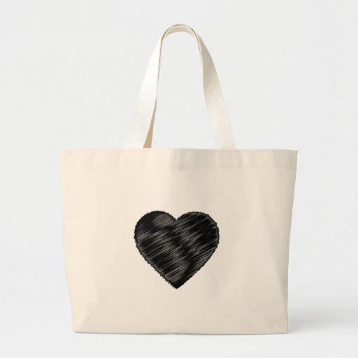Coração preto da tira bolsa de lona