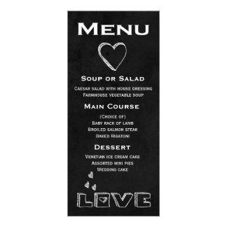 Coração preto do amor do menu do quadro -