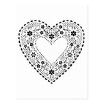 Coração preto e branco do laço cartão postal