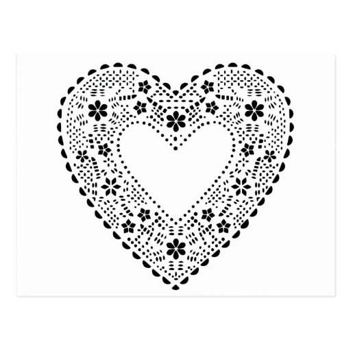 Coração preto e branco do laço cartao postal