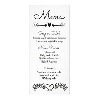 Coração preto e branco floral do louro do menu