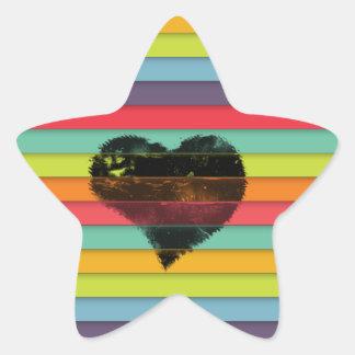 Coração preto no fundo funky dos azulejos adesito estrela