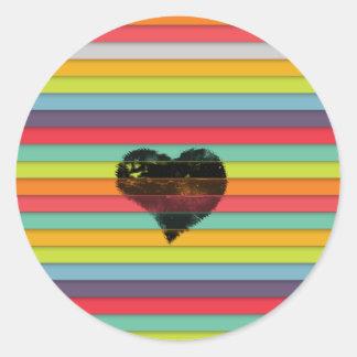 Coração preto no fundo funky dos azulejos adesivo