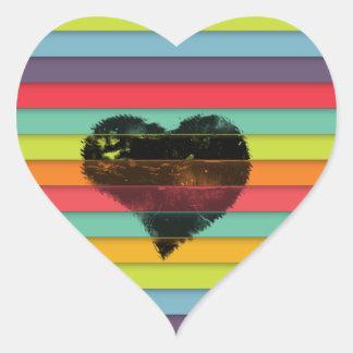 Coração preto no fundo funky dos azulejos adesivo coração