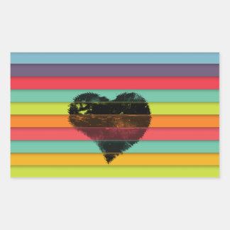 Coração preto no fundo funky dos azulejos adesivo retangular