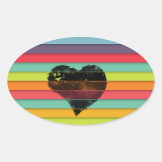 Coração preto no fundo funky dos azulejos adesivo oval
