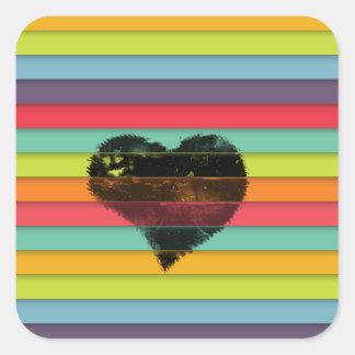Coração preto no fundo funky dos azulejos adesivo quadrado