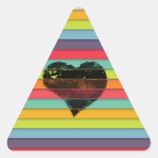 Coração preto no fundo funky dos azulejos adesivo triangular