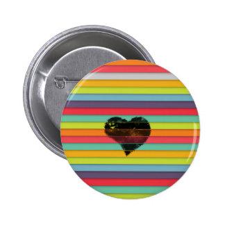 Coração preto no fundo funky dos azulejos bóton redondo 5.08cm