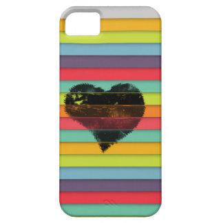 Coração preto no fundo funky dos azulejos capa barely there para iPhone 5