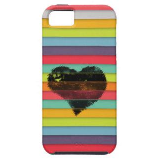 Coração preto no fundo funky dos azulejos capa para iPhone 5