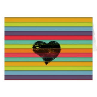 Coração preto no fundo funky dos azulejos cartão comemorativo