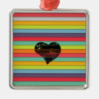 Coração preto no fundo funky dos azulejos ornamento quadrado cor prata