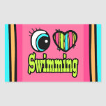 Coração que brilhante do olho eu amo nadar adesivo em forma retangular