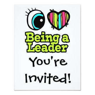 Coração que brilhante do olho eu amo ser um líder convite personalizado