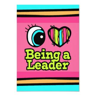 Coração que brilhante do olho eu amo ser um líder convite